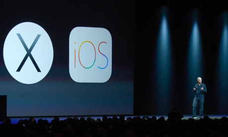 Tim Cook announces iOS 8 and Mac OS X Yosemite at WWDC in San Francisco.