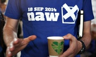 "A campaigner against Scottish independence wears a T-shirt reading ""18 Sep 2014: naw"""