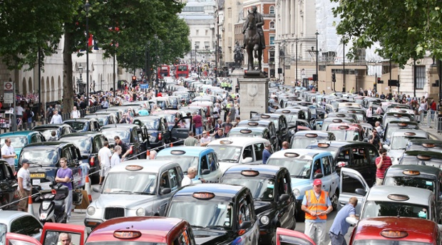 Taxis blockade Whitehall  in London, England.