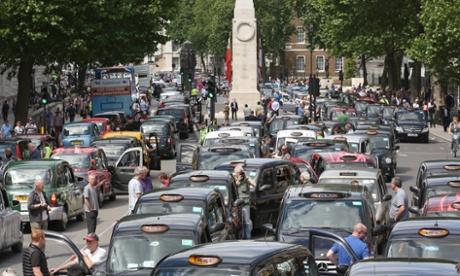 Taxis blockade Whitehall, London.
