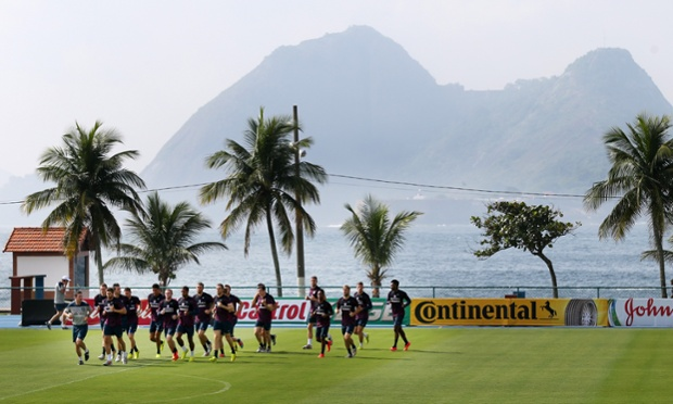 England train in the Urca military training ground in Rio.