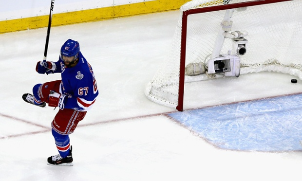 Benoit Pouliot of the New York Rangers celebrates his goal vs the Los Angeles Kings during the first period of Game Four of the 2014 NHL Stanley Cup Finals.