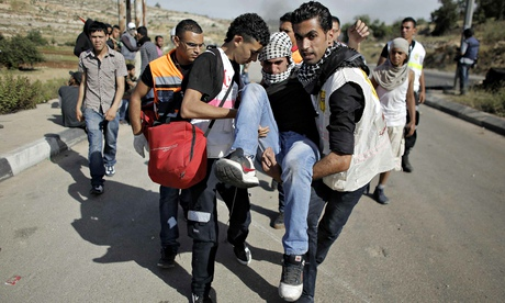 Wounded Palestinian protester