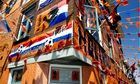 Dutch football fans decorate a street in a neighbourhood in The Hague, Netherlands - 11 Jun 2014