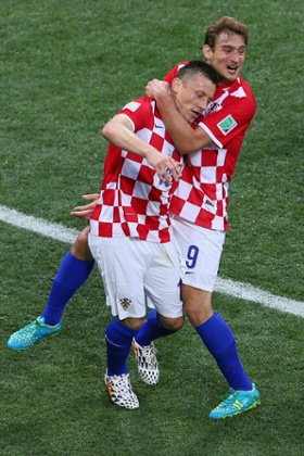 Ivica Olic (left) and Nikica Jelavic celebrate.