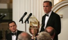 Mark Carney, Governor of the Bank of England, speaks at the 'Lord Mayor's Dinner to the Bankers and Merchants of the City of London' as Chancellor of the Exchequer, George Osborne, looks on at the Mansion House on June 12, 2014 in London, England.