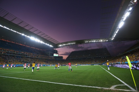 A beautifully-coloured sky provides the backdrop in the second half.