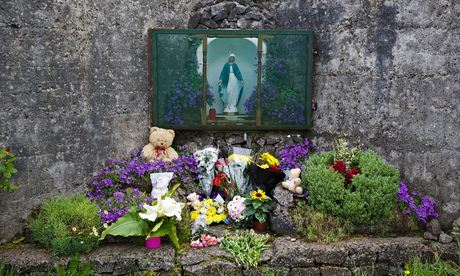 A memorial at the spot where 796 children may have been buried in Tuam, Galway