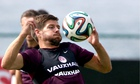 Steven Gerrard in training before England play Italy in World Cup 2014