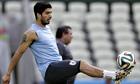 Luis Suárez in Uruguay training