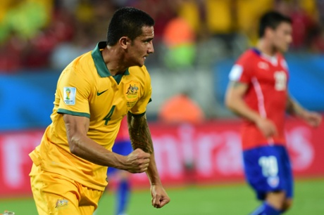 Australia's forward Tim Cahill celebrates after scoring.