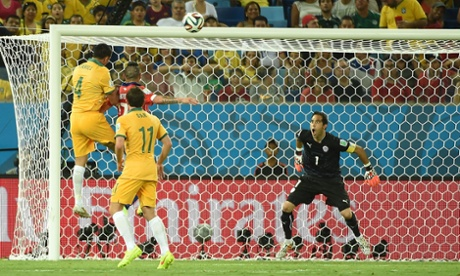 Tim Cahill's extraordinary leap for the first Australia goal.