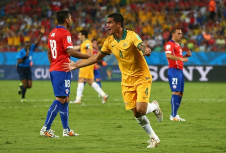 Tim Cahill reacts after his disallowed goal.
