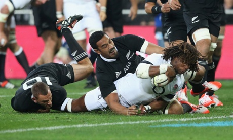 Marland Yarde of England dives over to score the first try.