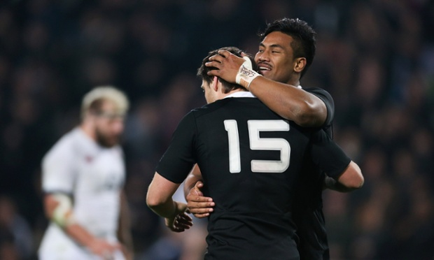 Julian Savea of the All Blacks celebrates with Ben Smith after scoring a try.