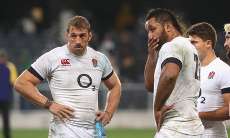 Captain Chris Robshaw looks dejected with team mate Billy Vunipola after the defeat.