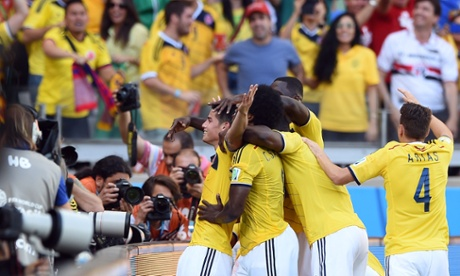 Colombia's midfielder James Rodriguez celebrates after scoring the third.