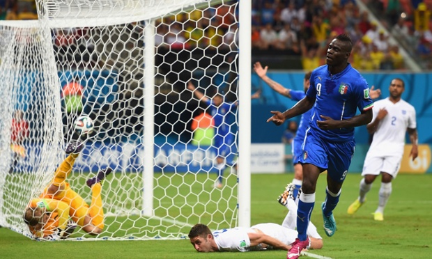 Mario Balotelli heads Italy 2-1 ahead against England.