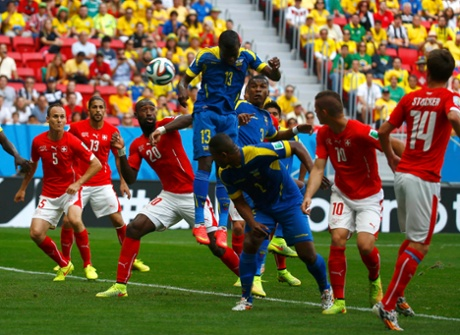 Ecuador's Enner Valencia scores a goal against Switzerland during their 2014 World Cup Group E soccer match at the Brasilia national stadium in Brasilia.