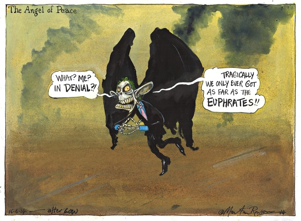 The Angel of Peace ~ Martin Rowson on Tony Blair, Iraq and Syria