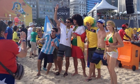 Fans from around the world unite at the Fan Fest on Copacabana Beach Rio De Janeiro