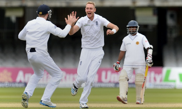 England's Stuart Broad celebrates the wicket of Sri Lanka's Dimuth Karunaratne (not pictured).