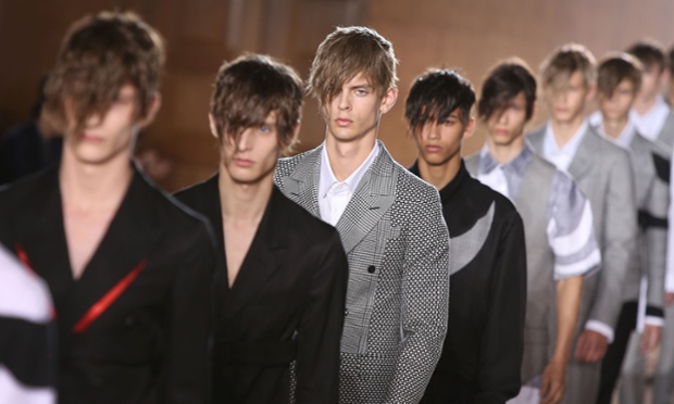 Models during the Alexander McQueen during London Collections: Men spring/summer 2015, at the Royal College of Surgeons of England by Lincoln's Inn Fields, central London, Monday, June 16, 2014