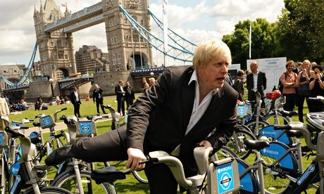 Boris mounting a Boris bike