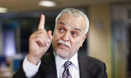 Iraq's fugitive vice president Tarek al-Hashemi gestures during an interview with Reuters in Istanbul June 16, 2014.