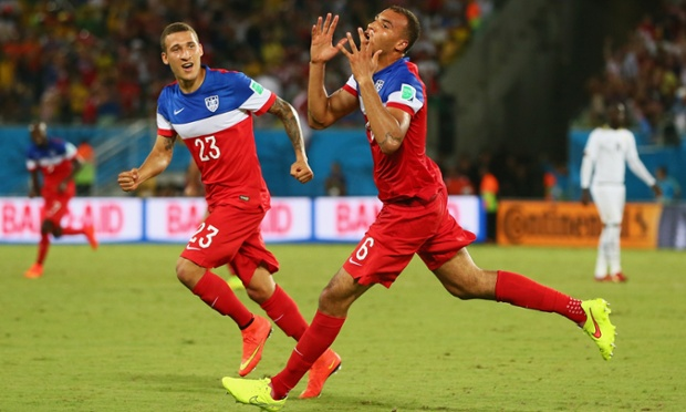 John Brooks of the United States celebrates scoring his team's second goal.