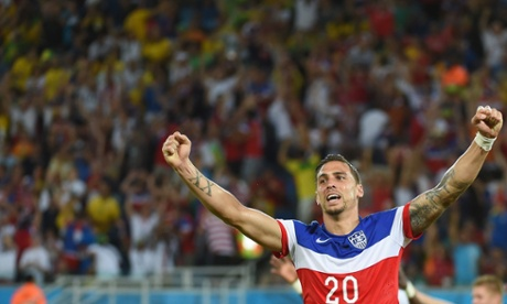 US defender Geoff Cameron celebrates.