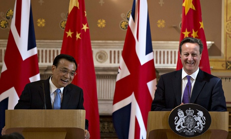 Chinese premier Li Keqiang and Britain's David Cameron