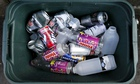Recycling box of bottles and drinks cans