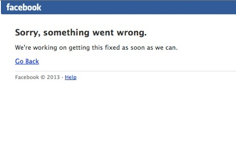 Facebook's notice. Photograph: /Facebook