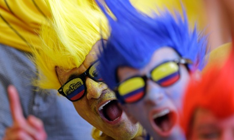 Colombian fans are making plenty of noise at the Estadio Nacional in Brasilia