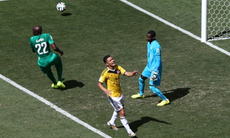 Teofilo Gutierrez of Colombia misses the best chance of the match so far.