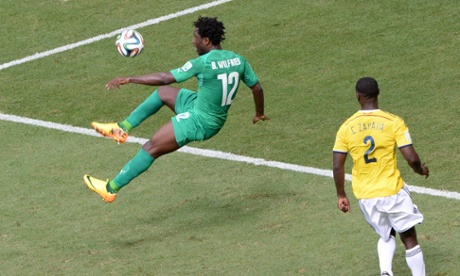 Ivory Coast's forward Wilfried Bony just fails to connect from Yaya Toure's pinpoint cross.