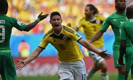 Colombia's midfielder James Rodriguez celebrates.