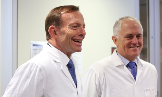 Prime Minister Tony Abbott, and the Minister for Communications, Malcolm Turnbull as they tour the Victor Chang Cardiac Research Institute. Sydney, Saturday, May. 31, 2014.