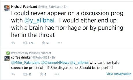 Michael Fabricant's tweet about Yasmin Alibhai-Brown