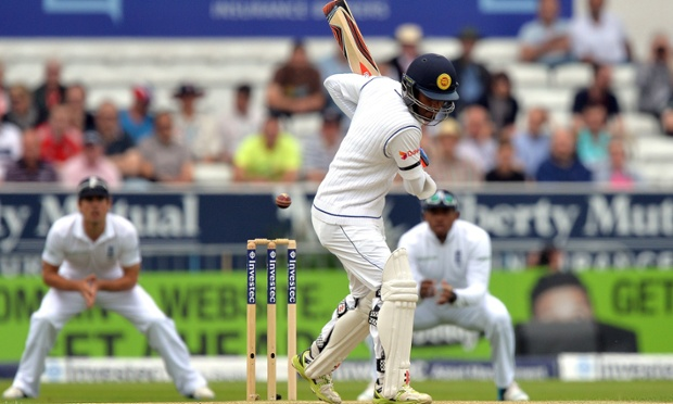 Sri Lanka's Dimuth Karunaratne leaves one on the opening morning against England.