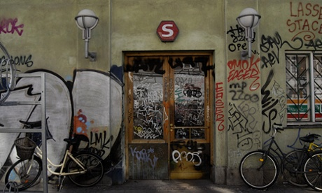 Graffiti at Norrebro station in Copenhagen.