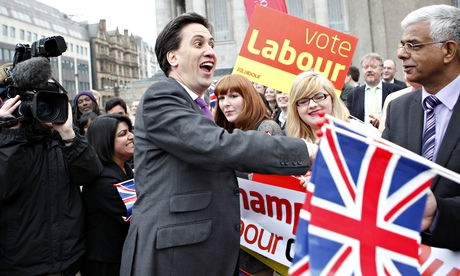 Labour Party leader Ed Miliband is congratulated by supporters in Birmingham