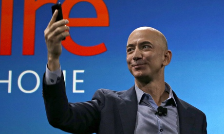 Jeff Bezos on stage in Seattle with Amazon's new phone