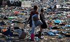 Music Fans Depart From The Glastonbury Festival