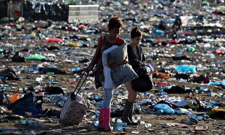 Music Fans Depart From The Glastonbury Festival