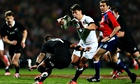 England's Ben Youngs attempts to get past New Zealand's Aaron Smith during the Test match