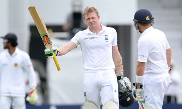 England's Sam Robson celebrates reaching his maiden Test century.