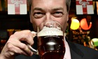 Nigel Farage, leader of Ukip, drinking a celebratory pint in May 2014.