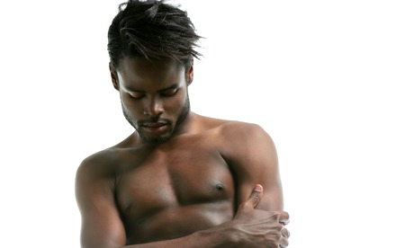 African american male model underwear at studio